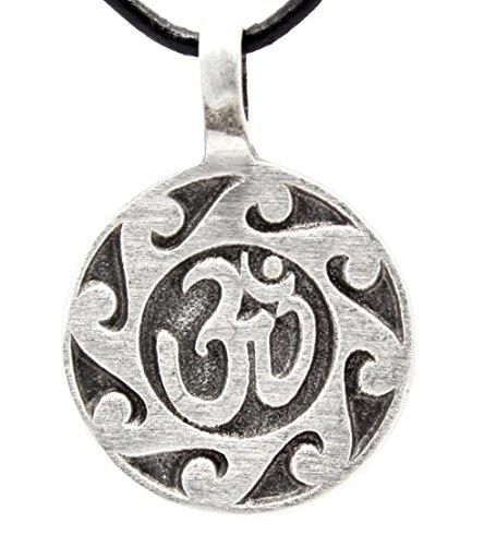 Trilogy Jewelry Pewter Buddhist Circle Ohm Namaste Pendant on Leather Necklace ()