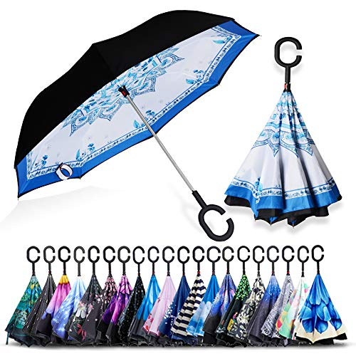 - ZOMAKE Double Layer Inverted Umbrella Cars Reverse Umbrella, UV Protection Windproof Large Straight Umbrella for Car Rain Outdoor with C-Shaped Handle(Blue and White Porcelain)