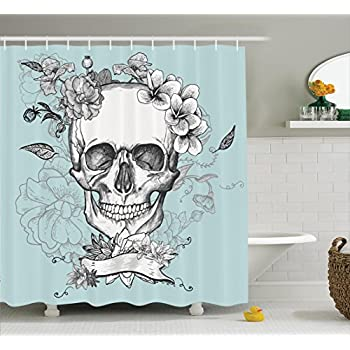 Grunge Home Decor Shower Curtain Set By Ambesonne, Skull And Flowers Day Of  The Dead