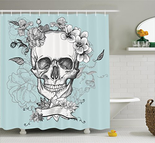 Grunge Home Decor Shower Curtain Set by Ambesonne, Skull and Flowers Day of the Dead Mexican Traditional Celebration Symbolic Art, Bathroom Accessories, 75 Inches Long, Turquoise (Day Of The Dead Curtains)