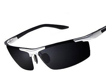 Superideal deporte gafas de sol Aluminio-magnesio polarizado sin montura semi al aire libre hombres blanco: Amazon.es: Electrónica