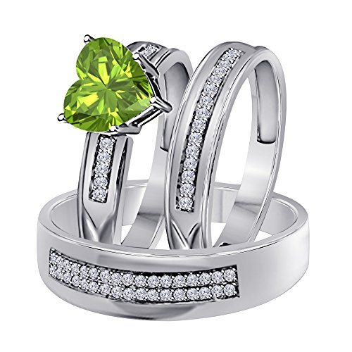 (1.00 Ct Synthetic Green Peridot Heart Shape & Round CZ Diamond 14k White Gold Over Engagement His & Her Wedding Engagement Trio Ring Set In .925 Sterling Silver)