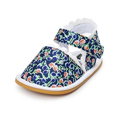 Zapatos de Bebé Niñas SMARTLADY Antideslizante Suavemente único Primeros pasos Zapatos Sandalias De Floral Azul