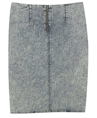 Plus Size Acid Wash Pencil Skirt --Size: 14 Color: Blue