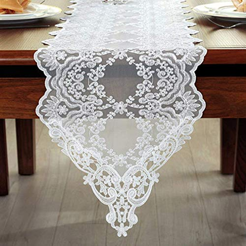 S Hotel Collection 12 x 60 inch Table Runner Wedding Party Home Decoration Embroidered Lace White]()