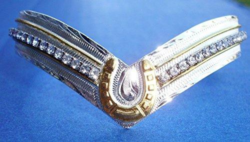 Western Jewelry V Cut Crystal Horseshoe Cuff Bracelet Anodized 2 5/8