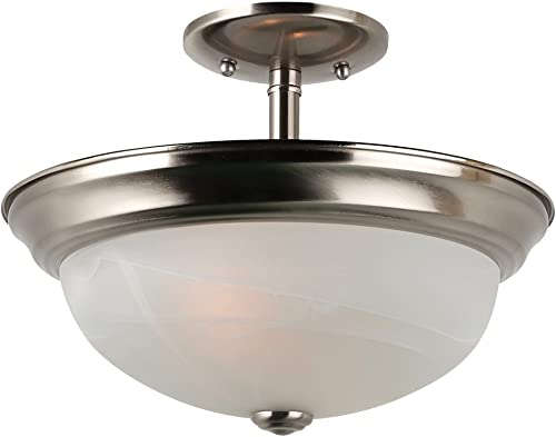 Sea Gull Lighting 77950-962 Convertible Semi-Flush Pendant with Alabaster Glass Shades, Brushed Nickel Finish