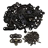 BQLZR 32x28 MM Bronze Color Iron Antique Hasp Wooden Jewelry Box Horn Left Hook Lock Pack of 20