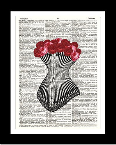 Vintage Rose Corset DICTIONARY ART PRINT - Wall Art for Home Decor – Ready-to-Frame Authentic Upcycled Vintage Dictionary (Antique Rose Wall Frame)