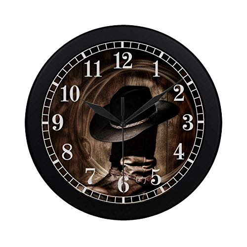 InterestPrint Vintage American Western Cowboy Hat and Boot Large Number Wall Clock, Modern Quartz Decorative Wall Clock for Living Room & Home & Office School, Black