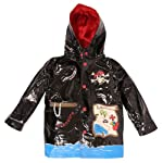 Wippette Waterproof Infant BoysPirate Hooded Trench Raincoat - Black (Size 12M)