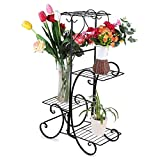4-Tiered Plant and Flower Stand Plant Flower Pot Rack,Scroll Classic Plant Stand Display Shelf Perfect for Home, Garden, Patio (Black)