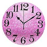Naanle Sparkling Pink Glitter Print Girly Confetti Girl Princess Theme Design Round/Square/Diamond Acrylic Wall Clock Oil Painting Home Office School Decorative Creative Dual Use Clock Art