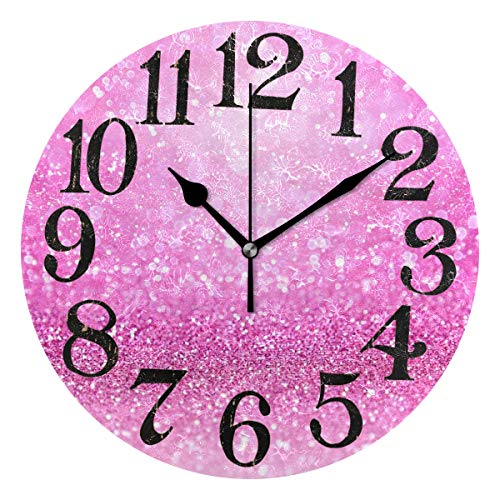 (Naanle Sparkling Pink Glitter Print Girly Confetti Girl Princess Theme Design Round/Square/Diamond Acrylic Wall Clock Oil Painting Home Office School Decorative Creative Dual Use Clock Art)