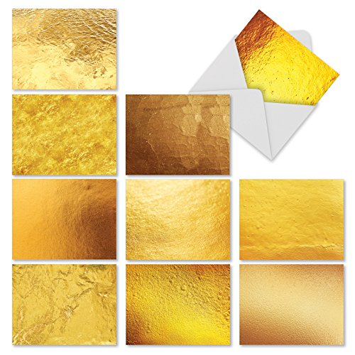- Going for the Gold - 10 Blank Note Cards with Envelopes (4 x 5.12 Inch) - Assorted Greeting Card Set - Photographs of Gold - All Occasion Cards for Wedding, Thank You - Stationery Notecards M3306