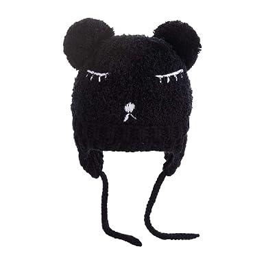Outflower 1Pcs Mignon Chapeau à Motif d ours Cache-Oreilles Bonnet Tricote  Épais Chaud 8b9fc5cd231