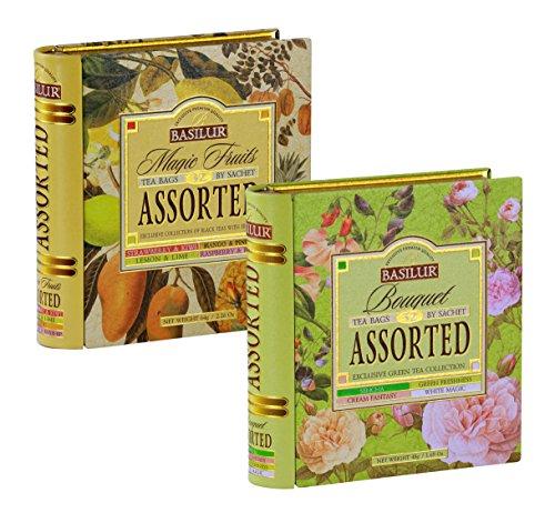 Price comparison product image Basilur Bouquet & Magic Fruits Assorted Tea Book Set / 100% Pure Ceylon Tea / Collectable Metal Caddy / 2 X 32 Tea Bags Sachets
