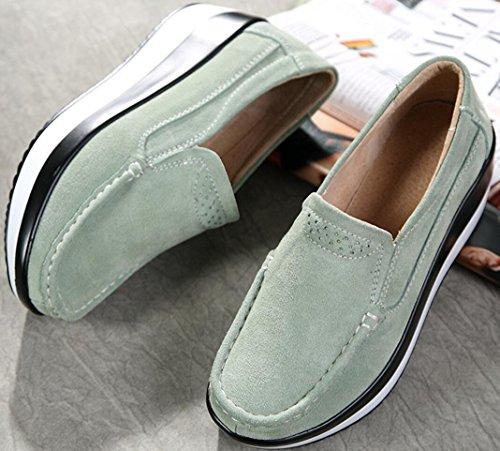 Scarpe Con Plateau Donna, Zeppe Scarpe Col Tacco Medio In Pelle Casual Da Lavoro 5 Colori 5,5-8,5 Verde Pallido