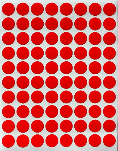 "Color Coding Labels 1/2"" Round - Dot Stickers -- Half inch rounds RED sticker -- 1200 pack"