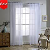 Cheap NICETOWN White Crinkle Sheer Curtain Panels Window Treatment Rod Pocket and Back Tab Crushed Voile Sheer Curtains for Patio/Villa/Parlor/Sliding Door (Set of 2, 52 Wide x 95 inch Long)