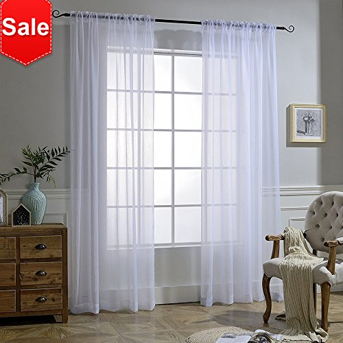 NICETOWN White Crinkle Sheer Curtain Panels Window Treatment Rod Pocket and Back Tab Crushed Voile Sheer Curtains for Patio/Villa/Parlor/Sliding Door (Set of 2, 52 Wide x 95 inch Long) (Sheer Window Solid Voile)