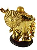 Feng Shui Golden Laughing Happy Buddha holding Ingot Statue Decoration with Betterdecor Charm