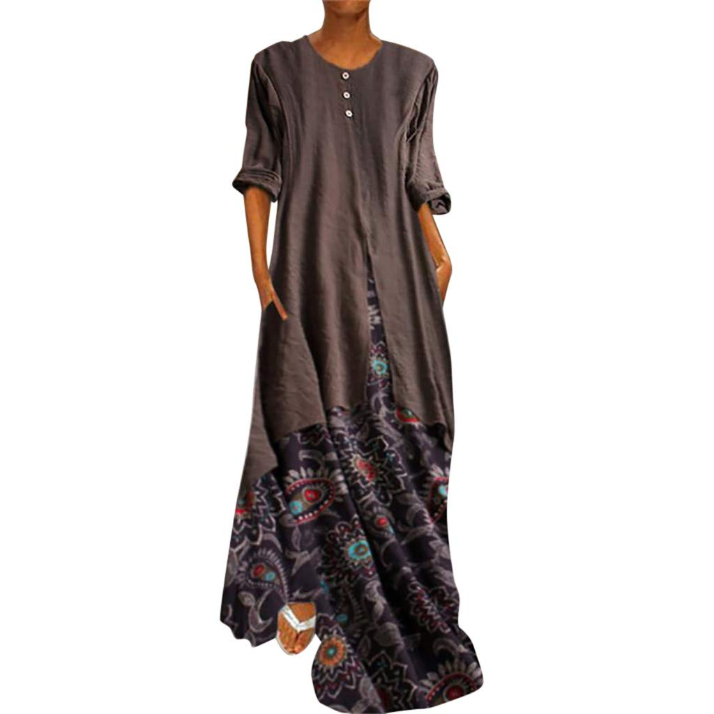 DondPo Women Bohemian Dresses O Neck Vintage Printed Ethnic Style Patchwork Two-Piece Summer Shift Long Dress Plus Size Brown