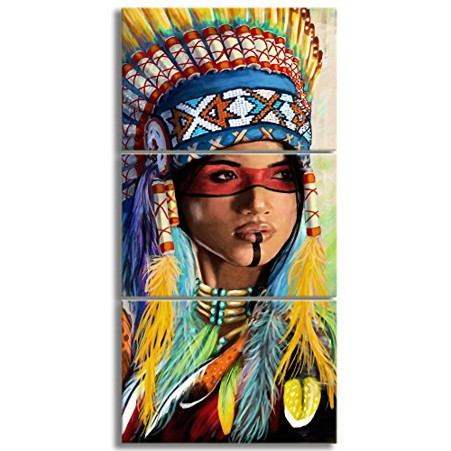 KALAWA Native American Girl Feathered Women Modern Home Wall Decor Canvas Artworks Picture Art HD Print Painting On Canvas 3 Piece Framed Ready to Hang (28''W x 20''H)