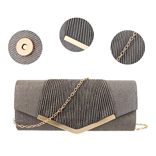 Dazzling Purse Wrinkle Naimo Rhinestone Womens Evening Shiny Clutch Flap 973 Bag Grey wqFwIzp