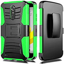 Alcatel Idol 5 6060C case, / Alcatel Nitro 5 Case, Luckiefind Dual Layer Hybrid Side Kickstand Cover Case With Holster Clip Accessory (Holster Green)