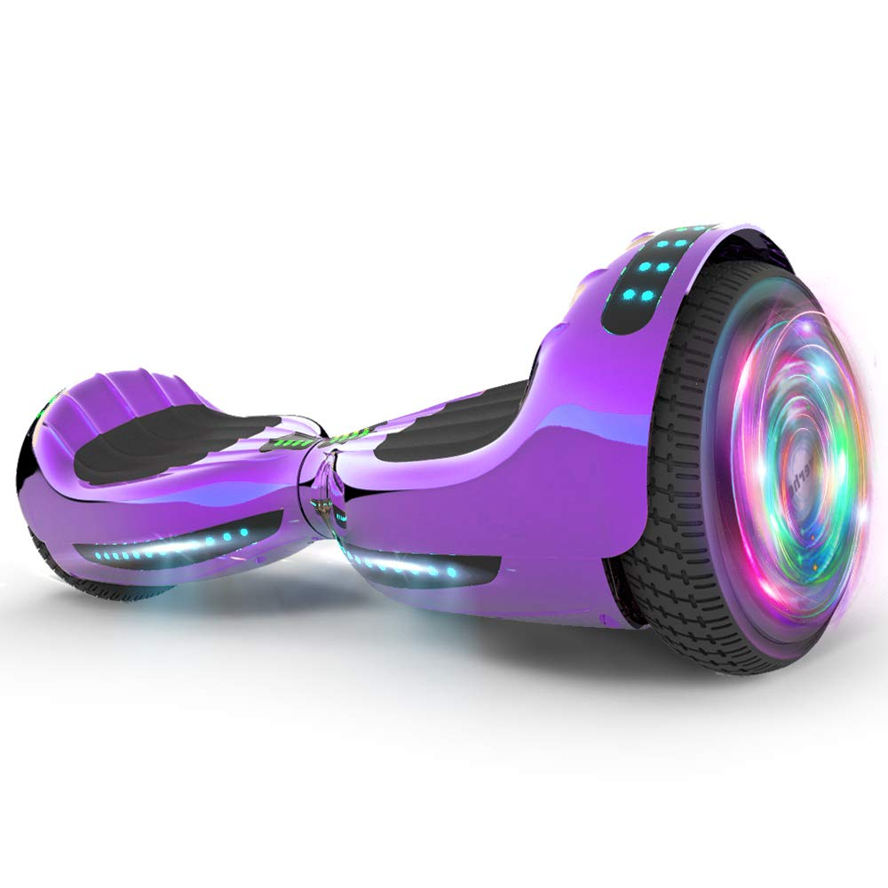 Hoverboard UL 2272 Certified Flash Wheel 6.5'' Wireless Speaker with LED Light Self Balancing Wheel Electric Scooter (Chrome Violet)