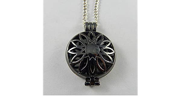 1pcs Silver Alloy Hollowed Chrysanthemum Lockets Pendants Oil Diffuser Necklace