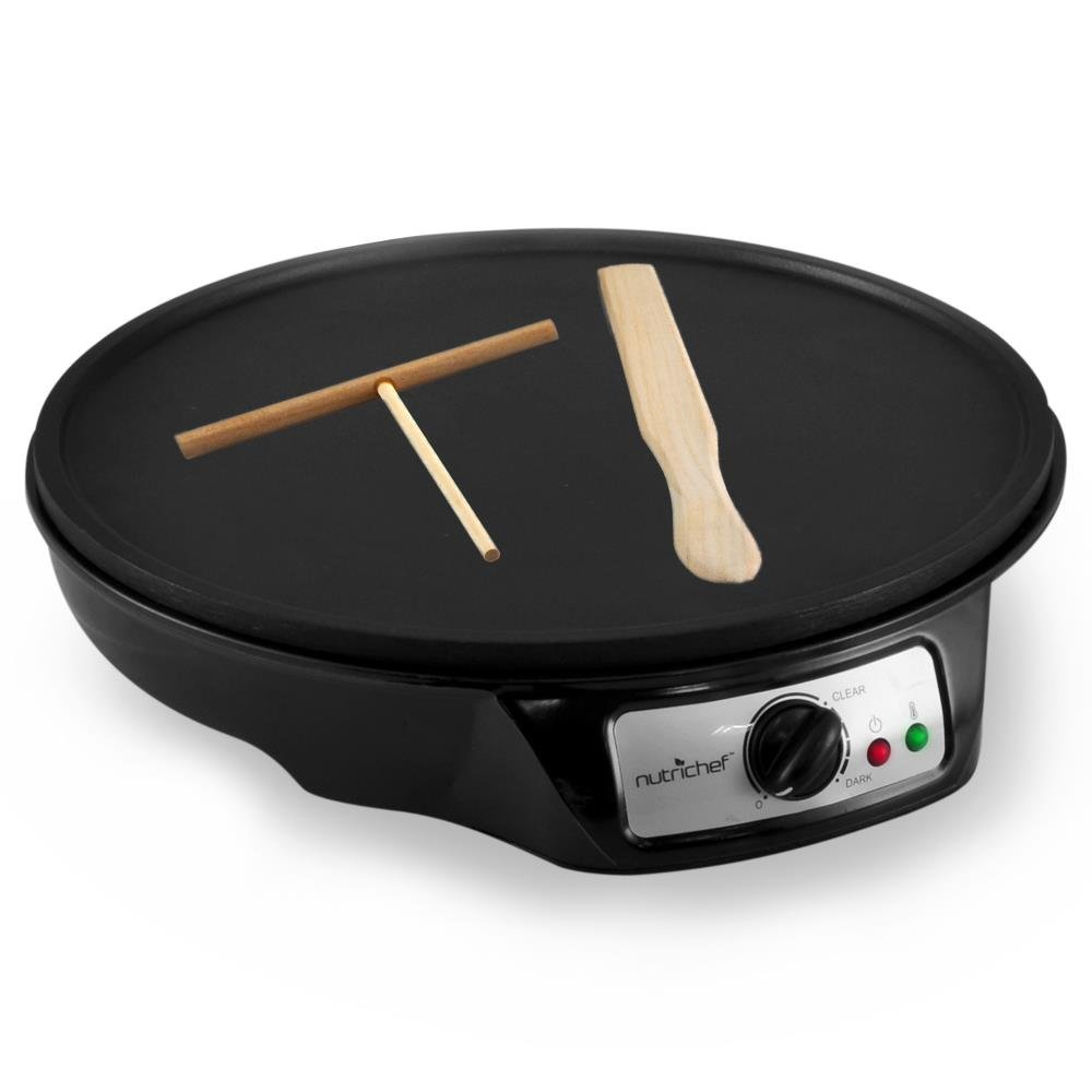 Aluminum Griddle Hot Plate Cooktop - Nonstick 12-Inch Electric Crepe Maker w/LED Indicator Light and Adjustable Temperature Control, Wooden Spatula and Batter Spreader Included - NutriChef