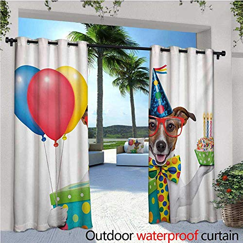 Kids Birthday Outdoor Privacy Curtain for Pergola Waiter Server Party Dog with Hat Cone Cupcake Balloons Celebration Boxes Thermal Insulated Water Repellent Drape for Balcony W108