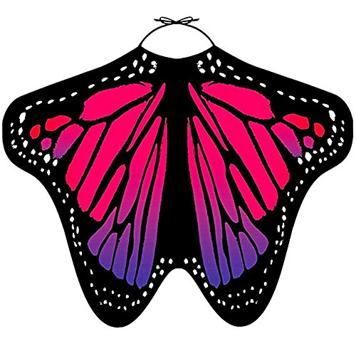 LIVEBOX Womens Swimwear Bikini Beach Cover Ups Butterfly Wings Shape Chiffon Sarong Pareo Scarf Swimsuit Shawl Wraps (Rosy)