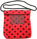 Rodent or Sugar Glider Carry Bonding Pouch with Window Red w Black Polka Dot