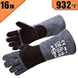 RAPICCA Leather Forge Welding Gloves Heat/Fire Resistant, Mitts for Oven/Grill/Fireplace/Furnace/Stove/Pot Holder/Tig Welder/Mig/BBQ/Animal handling glove with 16 inches Extra Long Sleeve - GreyBlack