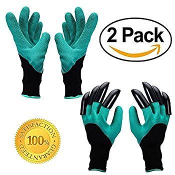Garden Genie Gloves ,AINATU Garden Glove With Claw, Garden Gloves Easy for Digging for Digging and Planting, 2 pairs (Claws on EACH Hand 1 pair, No claw 1 pair)