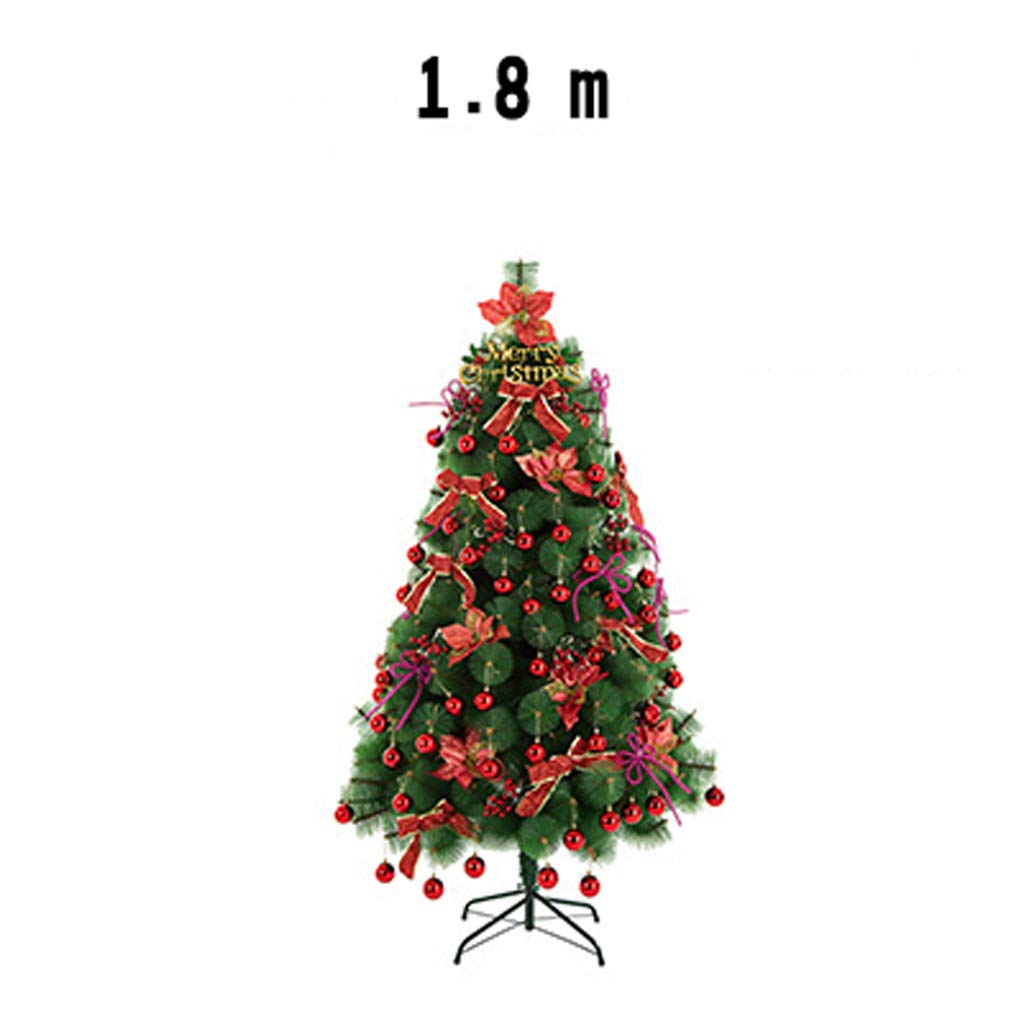 XF Christmas Tree-Christmas Tree Set 150cmHousewares Artificial Pine Christmas Tree with Stand Easy Build Hinged Branches Green 220v Voltage // (Size : 1.8m)