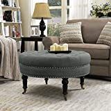 Round Upholstered Ottoman Coffee Table Belleze 33