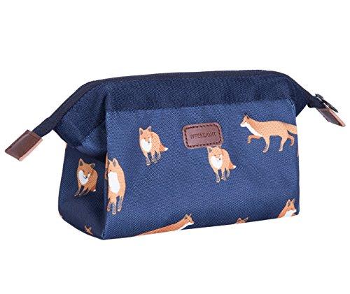 BAGOOE Handy Travel Cosmetic Makeup Clutch Bag Case Pouch Nylon Zipper Carry On Bag Various Colors For Women Men Girls, Dark Blue Fox