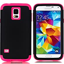 Galaxy S5 Case,LUOLNH 3-Piece High Impact Hybrid Defender Case For Samsung Galaxy S5 i9600 (not fit Galaxy S5 mini 2014)(Black+Hot Pink)