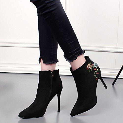 KHSKX-Die Stiefel Mit Feiner Baumwolle Wildleder Stiefel Winter Alle Mit Stickereien Farbe Boot Heels black