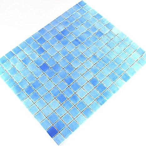 Glas Schwimmbad Pool Mosaik Fliesen Hellblau Mix