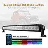 Auxbeam 52 Inch LED Light Bar RGB Multi-Color Curved LED Bar 5D V Series 300W Off Road Driving Light Spot Flood Combo Beam