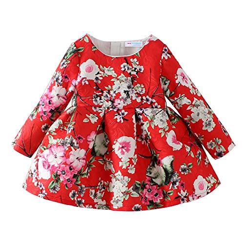 Blossom Flower Girl Dresses (Mud Kingdom Jacquard Peach blossom Girls' Long Sleeve Dresses Flower Red 5T/Height 45.3-49.2)