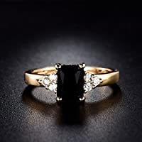 Meenanoom 24k Yellow Gold Filled Black Onyx Princess Solitaire Rings For Women Sz4.5-8.5 (5.5)