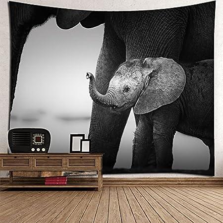 WENBIAOXUE Elefante Blanco y Negro de impresión Tapiz hogar Pared Toallas de Playa Playa Manta de Estar, 200x150: Amazon.es: Hogar