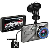 Dash Cam 4 Inches Car camera- Car Camcorder Super HD 1080P LCD Display Recorder with Front+VGA Rear 290°Super Wide Angle Built-in G-Sensor Night Vision Recording Loop Recording and Parking Monitoring