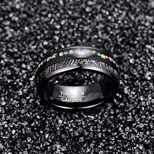 NUNCAD Fire Opal Tungsten Carbide Wedding Ring Imitated Meteorite Inlay for Male and Female Domed Style Size N½ to X½
